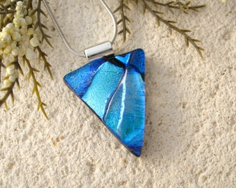Dichroic Jewelry, Blue Black Triangle Necklace,  Fused Glass Jewelry, Fused Glass Pendant, Dichroic Jewelry, Silver Necklace, 052816p103