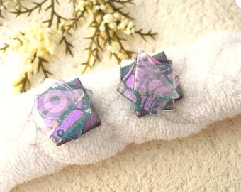 Confetti Stud Earrings, Dichroic Glass Earrings, Dichroic Jewelry, Pink Post Earrings ,Fused Glass Jewelry, Glass Earring, 021016e102