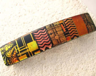 Medium Barrette, OOAK, Copper Gold Dichroic Barrette, Hair Barrette, French Barrette. Fused Glass Barrette, Gold Hair Clip, 031616ba108
