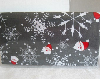 Santa Checkbook Holder - Santa Cover For Duplicate Checks - Red Grey Santa Cash Holder - Vinyl Checkbook Holder Fabric Insert