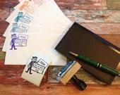 mailman Return address custom rubber stamp postman mr. zip mr. zippy mail carrier retro mail man