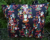 Day of the Dead purse, knitting bag, long or short handles, you pick, La Vida, The Trixie