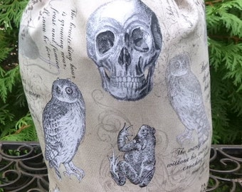 Witch knitting project bag, WIP bag, drawstring bag, Witches Familiars, Suebee
