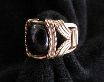 Vintage Gold Filled Wire Wrap Ring Onyx Cabochon Size 7.25