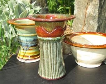 Handmade Earring Tree - Earring Bowl - Pedestal Jewelry Holder - Bridesmaid Gift - Earthy Greens and Orange