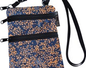 Ella Bella Purse - Cross body Purse - 3 Zippered Pockets - Adjustable Strap  Washable - FAST SHIPPING  Cell Phone Purse - Blue Batik fabric