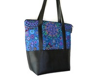 Vegan Leather Shoulder Tote Bag - Leather Tote Bag Tablet Pocket - Shoulder Bag Tablet Pocket - Murano Glass Fabric Tote
