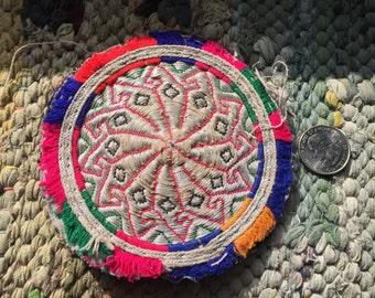 SALE - 50% off was 15.00 LARGE Vintage Round Afghani Handmade Embroidered Tribal Medallion - OOAK BTM404