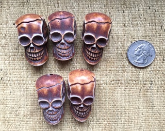 Five Large Antique Brown 37mm Resin Skull Beads or Pendants