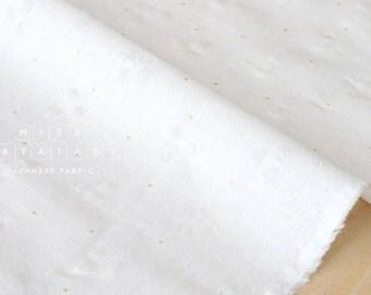 Japanese Fabric Textured Enshuku Glitter - white, gold -  50cm