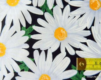 One Yard Cut Quilt Fabric, White Daisies, Yellow Centers on Green Leaves, Black from Timeless Treasures, Sewing-Quilting-Craft Supplies
