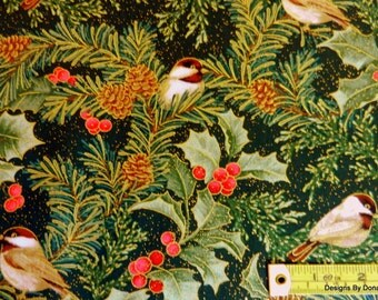 "One Half Yard Cut Quilt Fabric, ""CHICKADEES & BERRIES"" by Jackie Robinson of Animas Quilts for Benartex, Sewing-Quilting-Craft Supplies"
