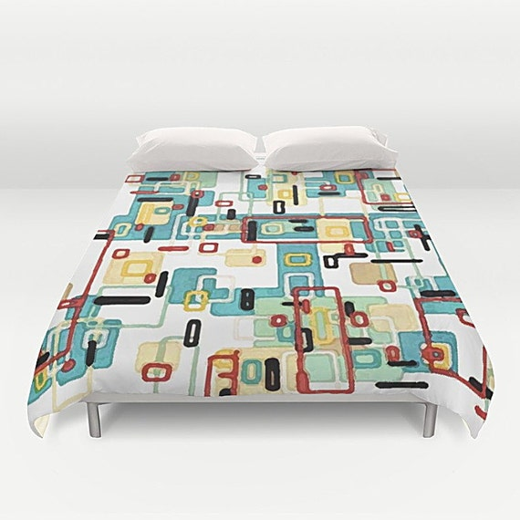 Mid Century Bedding Modern Duvet Cover Abstract By Tinacarroll