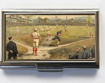 Vintage Baseball Game Business Card Holder Card Case