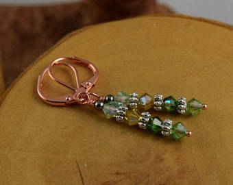 SPRING GRASS green Les Petite Cristaux Swarovski crystals handcrafted earrings gorgeous and still affordable