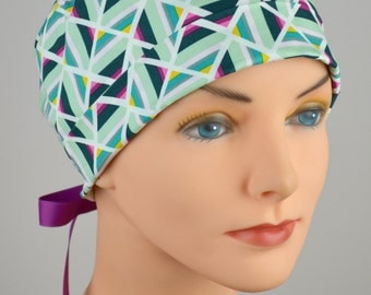 Surgical Scrub Hat or Chemo Cap- The Mini with Ribbon Ties- Geometric