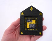 Tiny Punch Needle Embroidery and Papier Mȃché Hanging Decoration - House Shape With Yellow and Grey / Gray Abstract