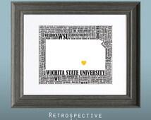 Wichita State University Word Art Map 8x10 Inch Printable