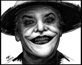 "Print 8x10"" - The Joker - Jack Nicholson Batman Villian Superhero Dark Art Knight Bat Bats Clown Gotham Pop Art Jack Napier Lowbrow 80s 90s"