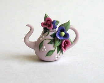 Handmade Miniature Jeweled Fairy Blossom Teapot by C. Rohal