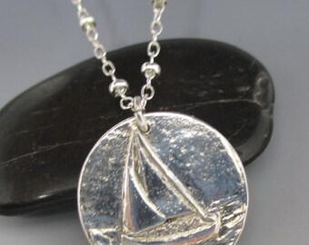 Fine Silver Sailboat Sterling Silver Necklace