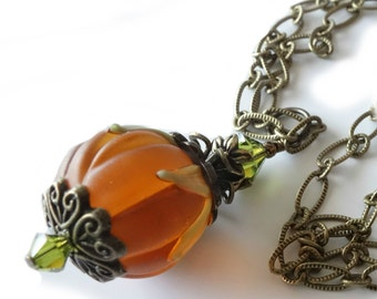 Lampwork Pumpkin Necklace, Pendant, Antique Brass Chain, Autumn, Halloween, Jack O Lantern, Thanksgiving, Beaded Jewelry, Beaded Necklace
