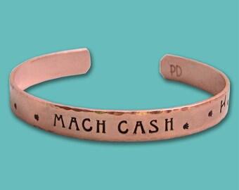 Personalized Copper MACH Cuff Bracelet - Dog Agility Bracelet - Canine Agility Gift - Title Bracelet - Brag Gift