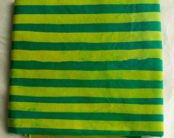 Two Stripes Hand Dyed and Patterned Cotton Fabric/ Chartreuse and Grass