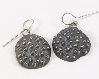 Chasing and Repousse Earrings. Sterling Silver, Silversmith Jewelry, Domed Rustic, Metalsmith Earrings, Organic Shaped, Nature Inspired