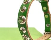 Green Leather Cat Collar with Green Rhinestones, Eco-Friendly, Size to fit a 8-10in Neck, OOAK