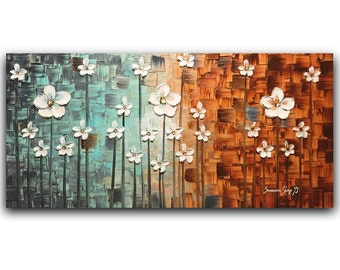 Abstract Large ORIGINAL Painting White Flower Blossom Landscape Oil Painting Home Decor Wall Art Palette Knife Texture Modern Art by Susanna