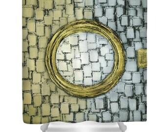 Shower Curtain- grey beige abstract shower curtain art