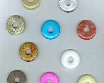 CLEARANCE Set of 10 35mm Gemstone PI Donut Pendant Bead Sampler 302