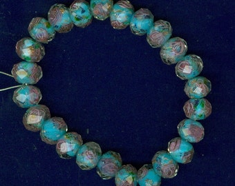 10mm x 8mm Blue Lampwork Faceted Rondelle Flower Bead 24 Glass Beads 0109