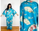 blue japanese KIMONO crane print robe