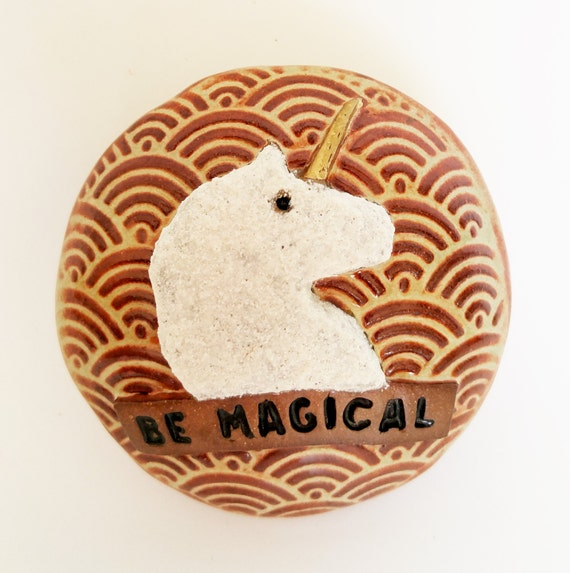 Spirit Rattle - Unicorn - Magical - Meditation - Gift for Teen - Unicorn Art - Rattle - Paperweight - Stoneware Rattle - Desk Accessory