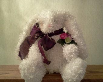 Tess - Frilly Fuzzy Bunny Rabbit Homemade Elegant Decorator Easter Christmas