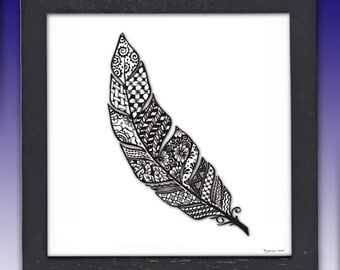 Framed Feather Pen and Ink Print