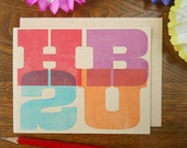 letterpress woodtype inspired HB2U greeting card happy birthday to you 4 color typography