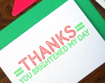 letterpress thanks neon sign greeting card pack/6 fluorescent green & red ink on bright white paper thanks you brightened my day