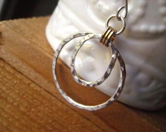 Hoop Earrings, Fine Silver, Mixed Metals, Brass Link, Textured Earrings, Sterling Silver, Pure Brass, Double Hoops,Women's Jewelry