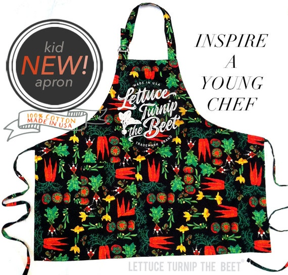 lettuce turnip the beet ® trademark brand OFFICIAL SITE -  cotton kid apron with vegetable print - made in USA
