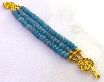 Intense Blue Aquamarine, 24k Gold Vermeil, Three Strand Focal Bracelet...