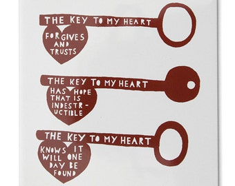 The Key To My Heart Handprinted Ceramic Tile