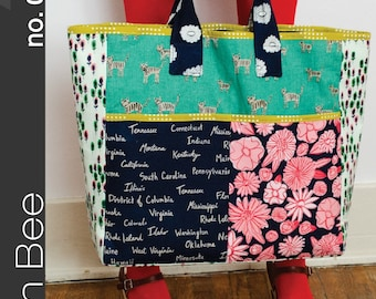 Green Bee Design & PATTERN - Boxcar Tote
