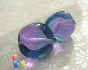 Lampwork Beads Glass Soft Purple and Blue Two Tone Nuggets Pair