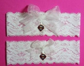 SALE 10% OFF White Lace Handmade Wedding Garter Set with Philadelphia Phillies charm