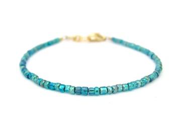 Ocean Turquoise Blue Bracelet, Seed Bead Bracelet, Friendship Bracelet, Summer Jewelry, Blue Green Yoga Bracelet, Ocean Blue Bridesmaid