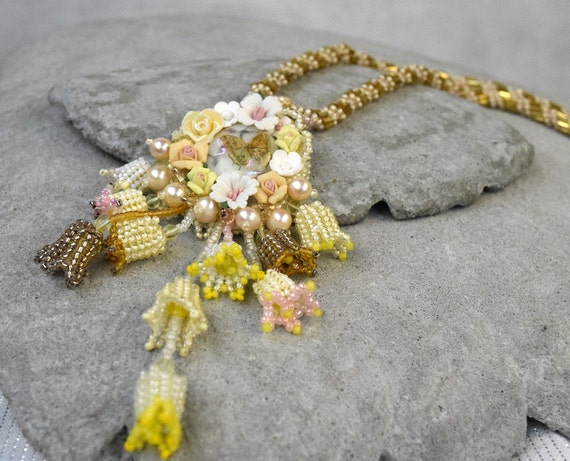 Floral Embroidered Pendant - Flower Bud Necklace Yellow Dandelion Necklace Beaded Floral Pendant Enchanted Necklace Gold Embroidered Pendant