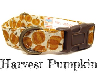 "Off White Orange Pumpkin Dog Collar - Organic Cotton Dog Collar - All Antique Brass Hardware - ""Harvest Pumpkin"""